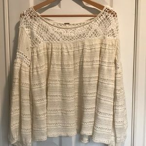 Free People Crochet Baby Doll Top